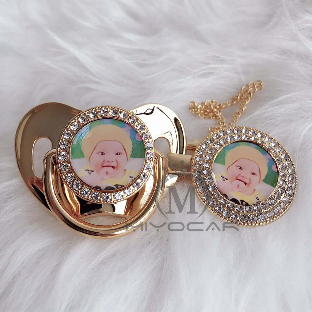 Image 5 - MIYOCAR Personalized any name can make silver bling pacifier and pacifier clip BPA free dummy bling unique design P9-in Pacifier from Mother & Kids