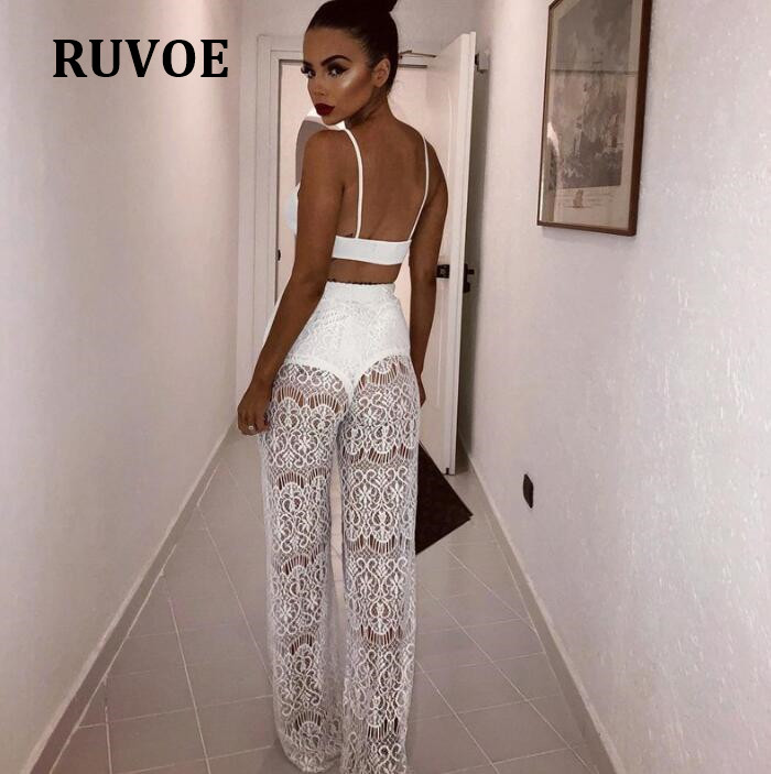 1a35149822 New Summer Women Beach Mesh Sheer Long Pants Cover Up Swimwear Bathing Lace  Flare Pant Trousers New Fashion Streetwear YFL 54-in Pants & Capris from  Women's ...