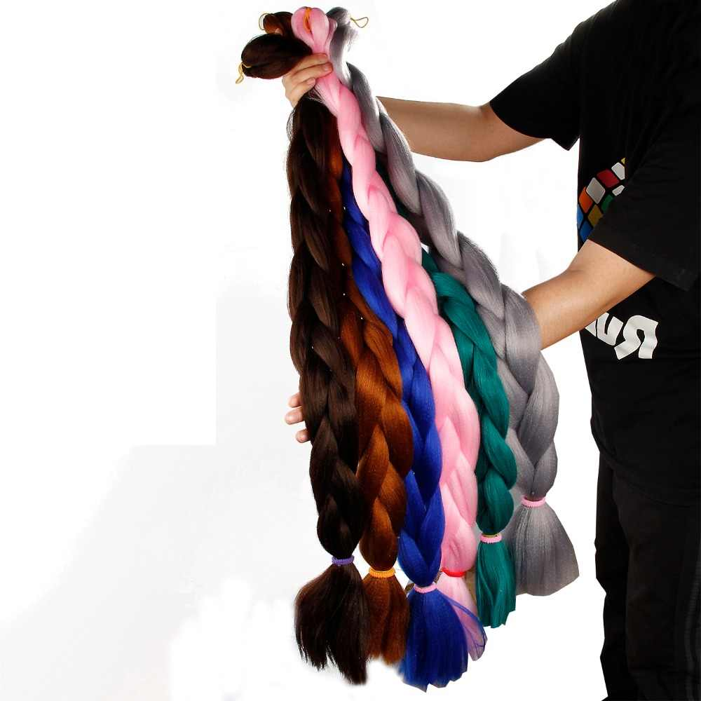 crochet Braids 82 Inch 165g Synthetic Hair Black Brown Red Pink Purple Long Jumbo Braids Crochet Bulk Hair