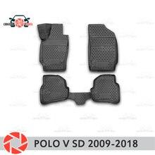 Для Volkswagen Polo V Sedan 2009-2018 коврики для пола Нескользящие полиуретановые грязезащитные внутренние аксессуары для стайлинга автомобилей
