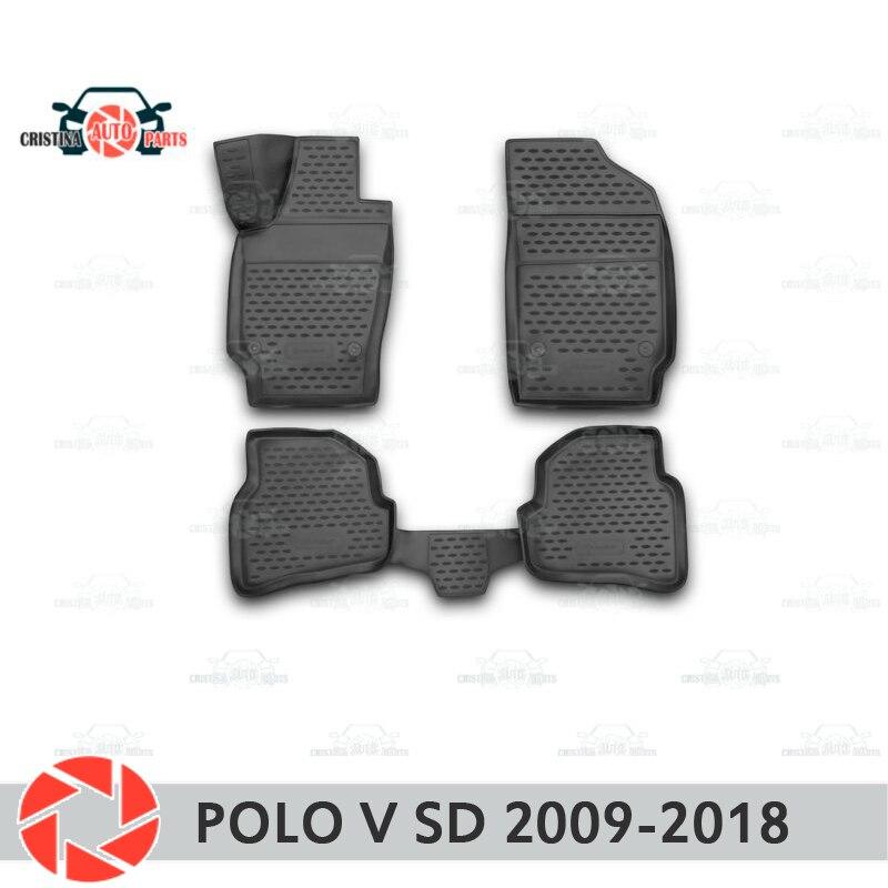 Para Volkswagen Polo V sedán 2009-2018 alfombras antideslizantes de poliuretano protección de suciedad accesorios de diseño de coches interiores