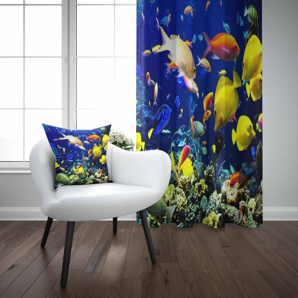 Else Tropical Aquarium Under Sea Yellow Orange Fish 3d Print Living Room Bedroom 1 Panel Set Curtain Combine Gift Pillow Case