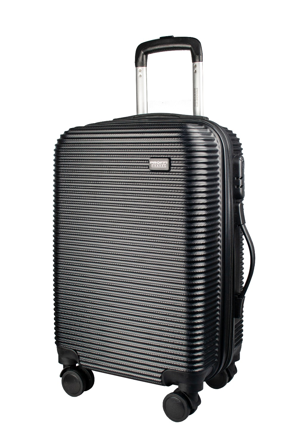 Plastic suitcase PROFFI TRAVEL PH9534black on wheels, S, with built-in weights