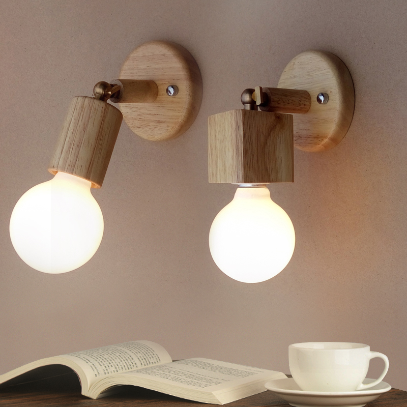 Modern Japanese solid wood Wall Lamps creative living room bedroom bedside balcony aisle mirror headlights Modern Japanese solid wood Wall Lamps creative living room bedroom bedside balcony aisle mirror headlights