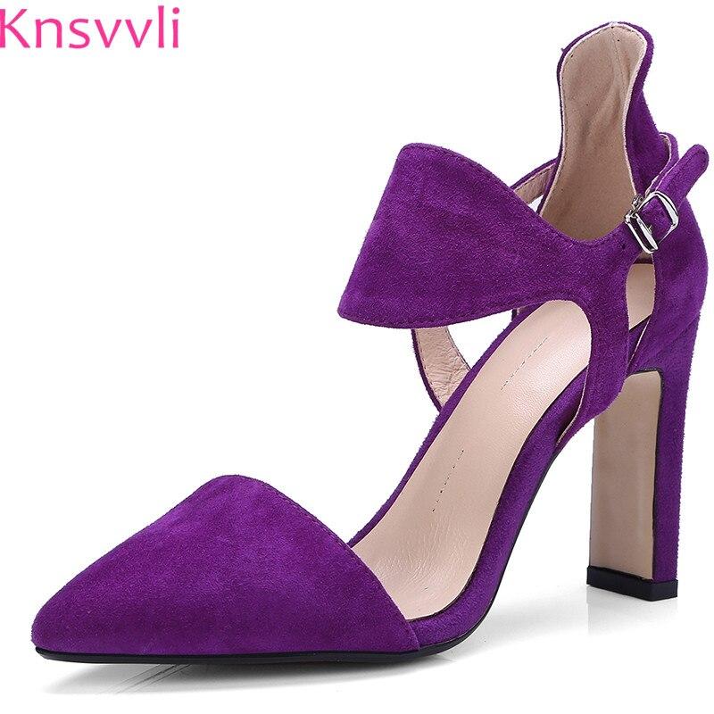 Les Sexy Haute D'été Tous Knsvvli Enfant Correspondants Boucle Black Daim Violet Bout En Pompes Mot Talons Femmes purple Un Color caramel Chaussures Sandales Pointu CwYxWpqI