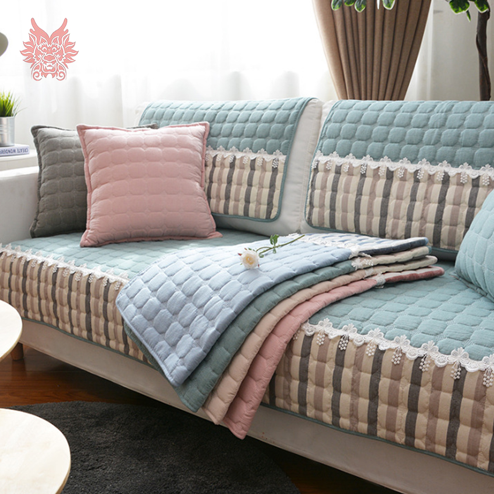 Lace stripe style blue pink green cotton quilted sofa cover slipcovers canape couch chair furniture cover fundas de sofa sp5439 in sofa cover from home