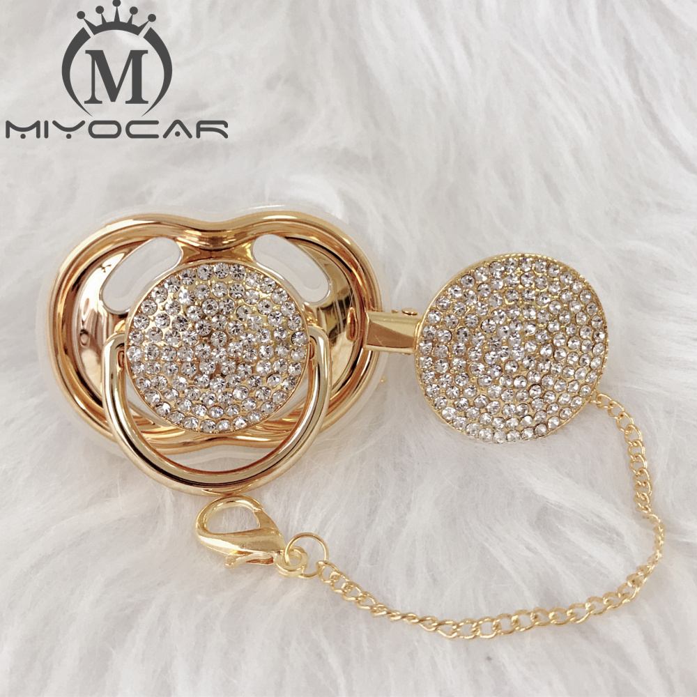 MIYOCAR bling all silver gold pacifier and clip set unique design BPA free SGS pass safeMIYOCAR bling all silver gold pacifier and clip set unique design BPA free SGS pass safe