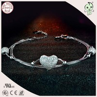 Hot Sale High Quality Love Design 925 Sterling Silver Bracelet CZ Stone Paving Heart Shape Three Circles Chain Bracelet