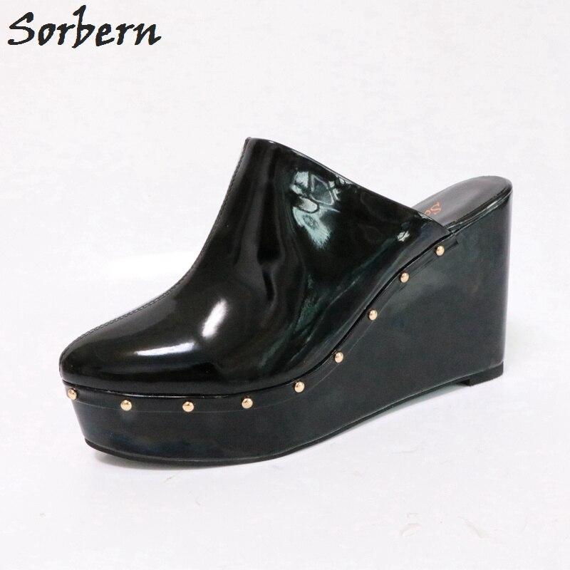 a98d75e983fc Sorbern Pointed Toe Slip On Mules Women Platform Heels Pumps Women Shoes  Black Heels Woman Heels