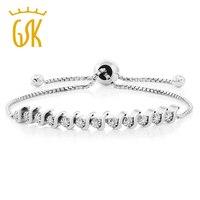 Genuine 925 Sterling Silver 0 11 CTTW White Diamond Fully Adjustable Bracelet