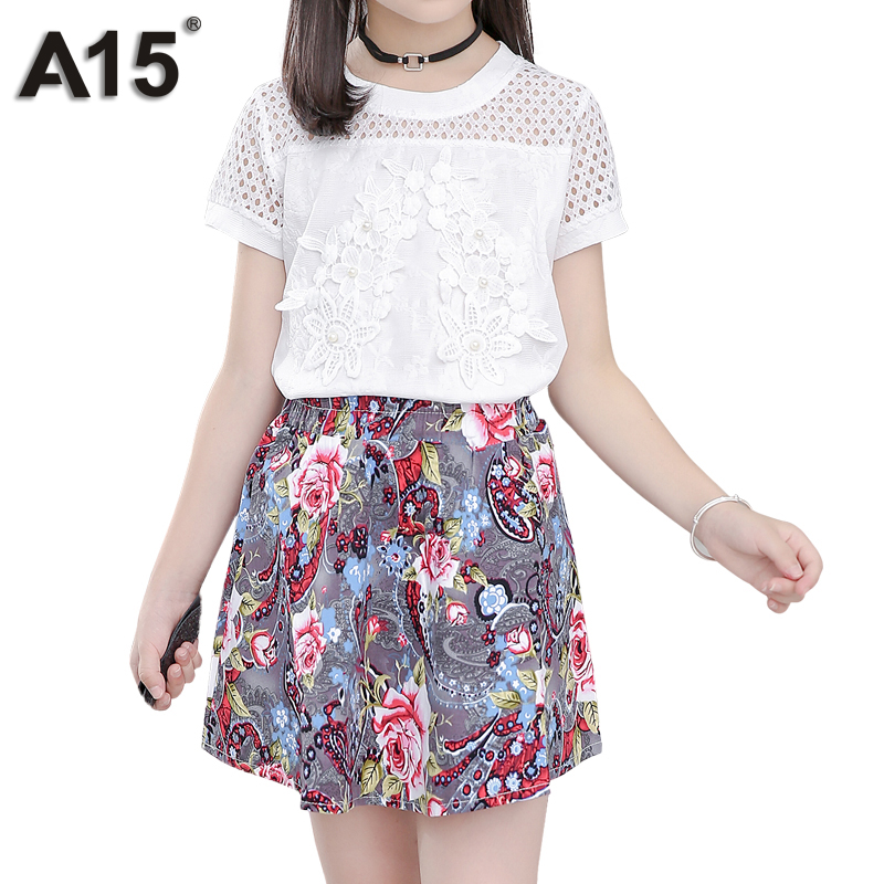 ca46c73dafa A15 Kids Clothes Teenagers T Shirt + Floral Skirt Two Piece Suit 2018  Toddler Girls Clothing Sets Summer Outfit 4 6 8 10 12 Year