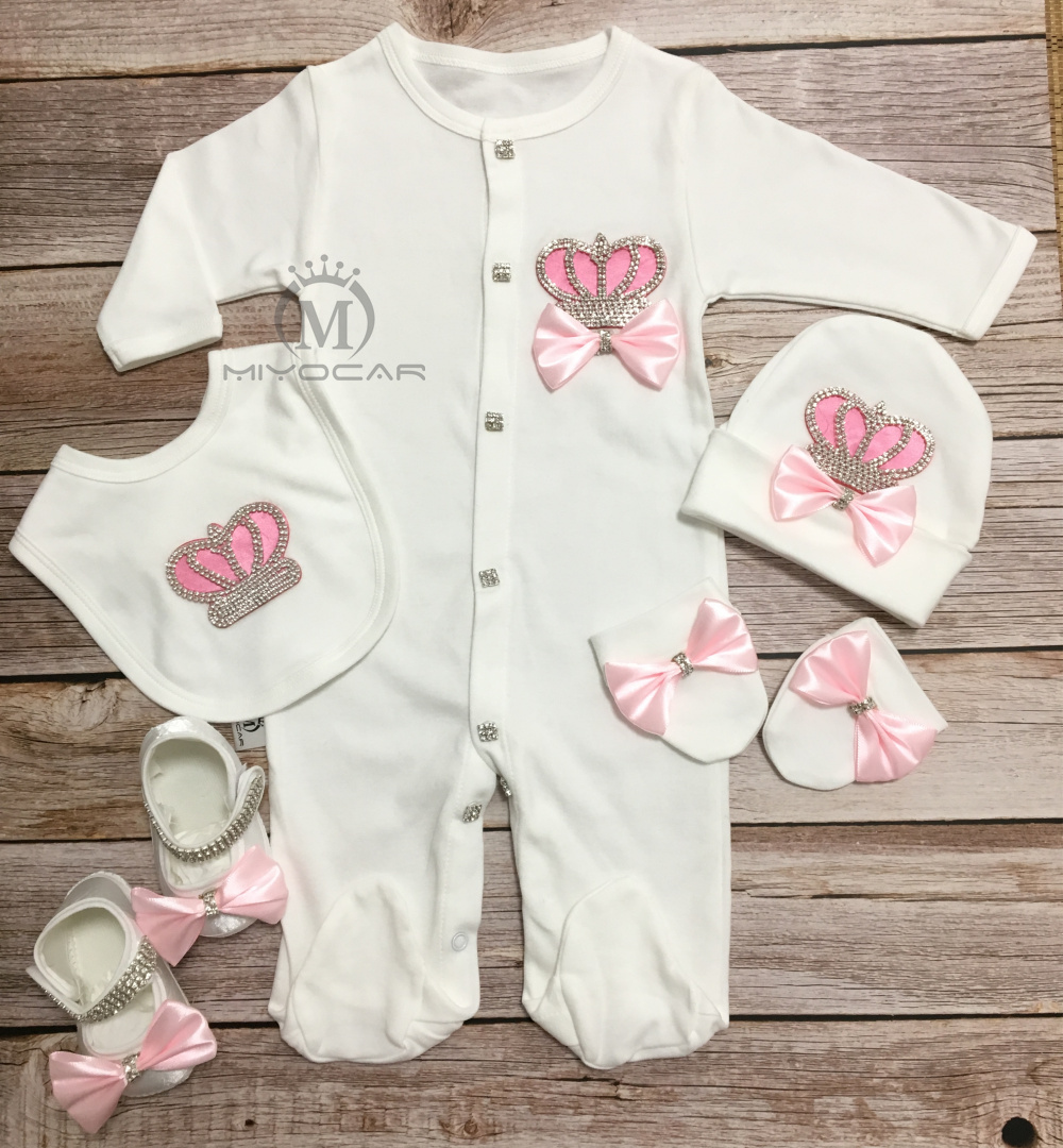 MIYOCAR 0-6m all cotton pink crown rhinestone clothes set one piece bodysuit unique baby shower gift bling cothes S3