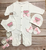 MIYOCAR 0 6m all cotton pink crown rhinestone clothes set one piece bodysuit set unique baby shower gift bling baby cothes S3