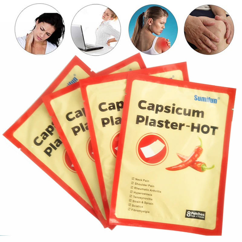 80 Pcs / 10 Bag Hot Capsicum Plaster Porous Chinese Medical Shoulder Waist Leg Joint Pain Reliefe Patch Hot Capsicum Plaster