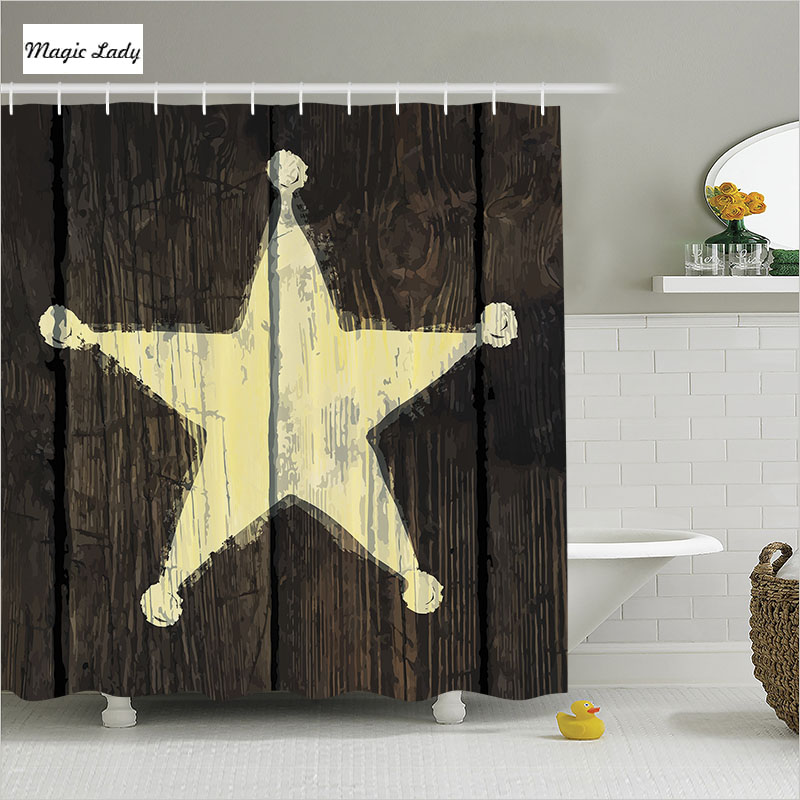 Shower Curtain Star Bathroom Accessories West Rustic Wooden Sheriff 39 S Pla