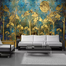 Golden Forest Birds TV Background Wall Professional Fabrication Mural, Wallpaper Wholesale, Custom Poster Photo Wall fabrication