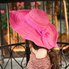 XIANXIANQING 2017 Butterfly Tie Large Brimmed Hat Straw Hat Wholesale Satin Fabric Caps Sunscreen Beach Hats