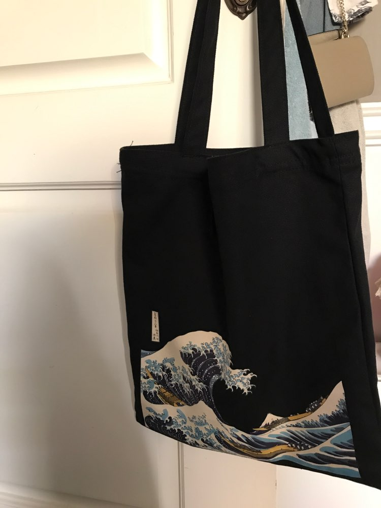 Raged Sheep Fashion Cotton Grocery Tote Shopping Bags Folding Shopping Cart Eco Grab Reusable Bag With Sea Wave Print photo review