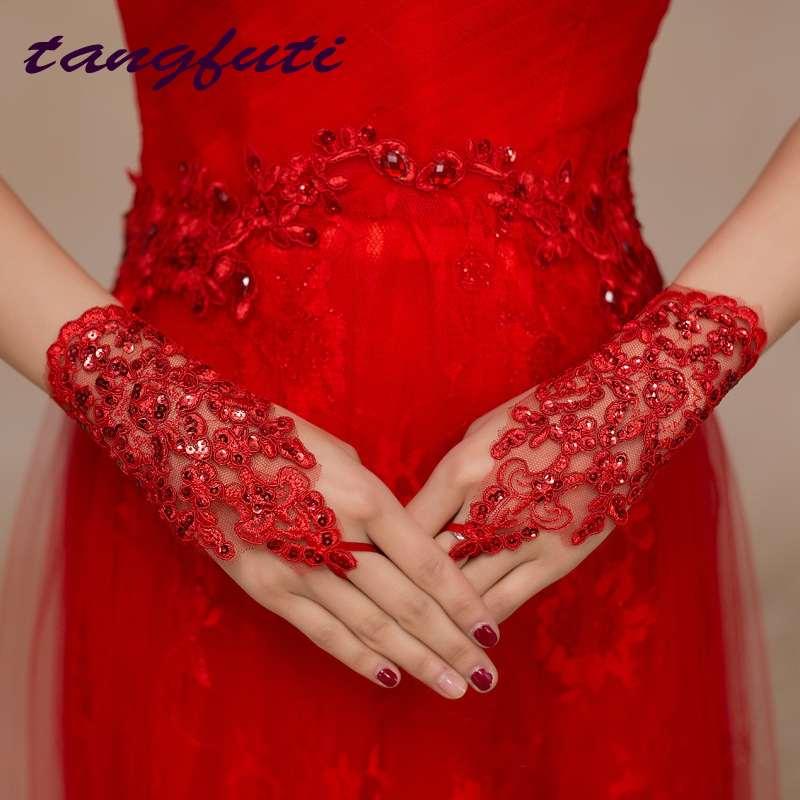 Sõrmeteta punase pitsiga pulmakindad pruudi seksikas pruudi kindad Ivory
