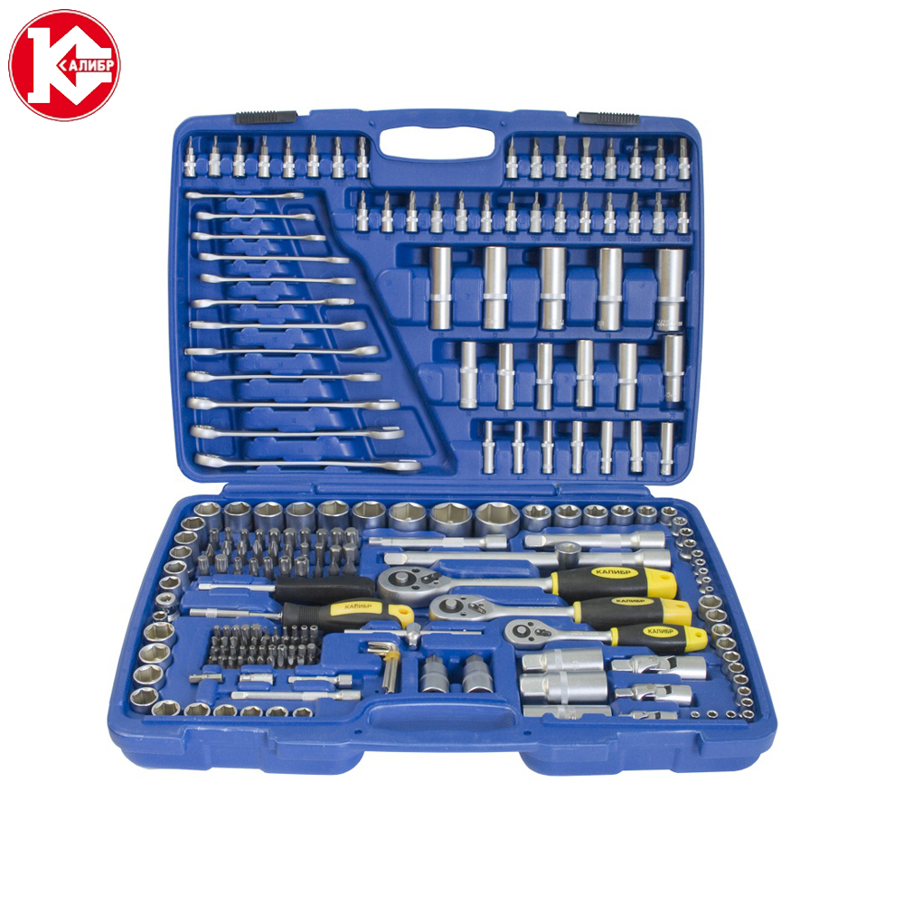 Cr-v hand tools set Kalibr NSM-216, 216pc Spanner Socket Set Car Vehicle Motorcycle Repair Ratchet Wrench Set high quality 14pcs power nut driver adapter drill bit set metric socket wrench screw 1 4 inch hex shank quick change screwdrive