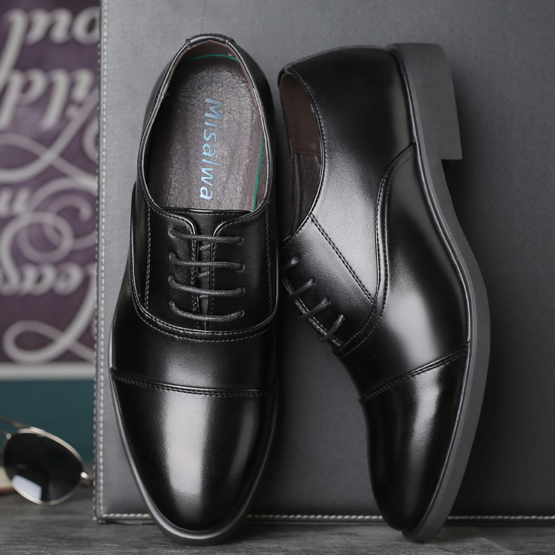 Misalwa 2019 Men 39 s Formal Leather Lined Dress Loafers Shoes Round Toe Classic Lace up Flats Black Non slip Oxford Business Shoes in Formal Shoes from Shoes