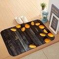 Еще серый черный деревянный на ломтиках оранжевых фруктов 3d Рисунок Противоскользящий моющийся коврик для дома Декор для прихожей кухонны...