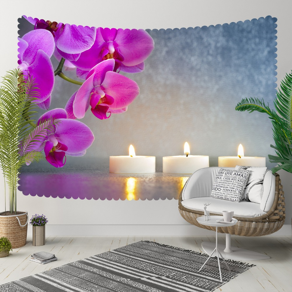 Else Blue Floor Purple Orchid Flowers White Candles 3D Print Decorative Hippi Bohemian Wall Hanging Landscape Tapestry Wall Art