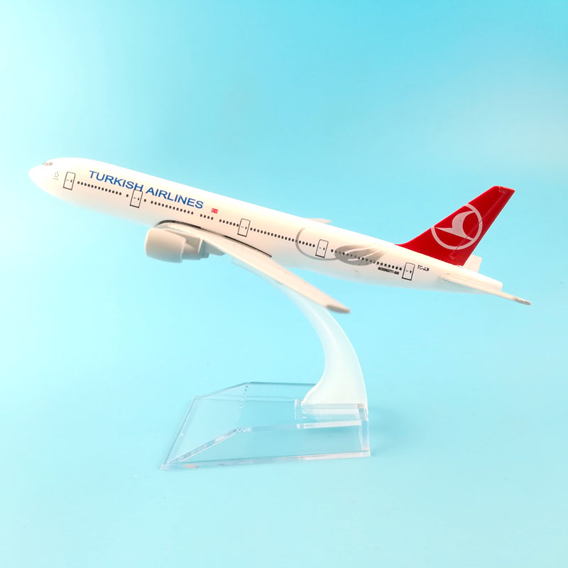 16CMTURKISH AIRLINER 777 TURKISH AIRLINES METAL ALLOY MODEL PLANE AIRCRAFT MODEL TOY AIRPLANE BIRTHDAY GIFT free shipping 10pcs dly d1