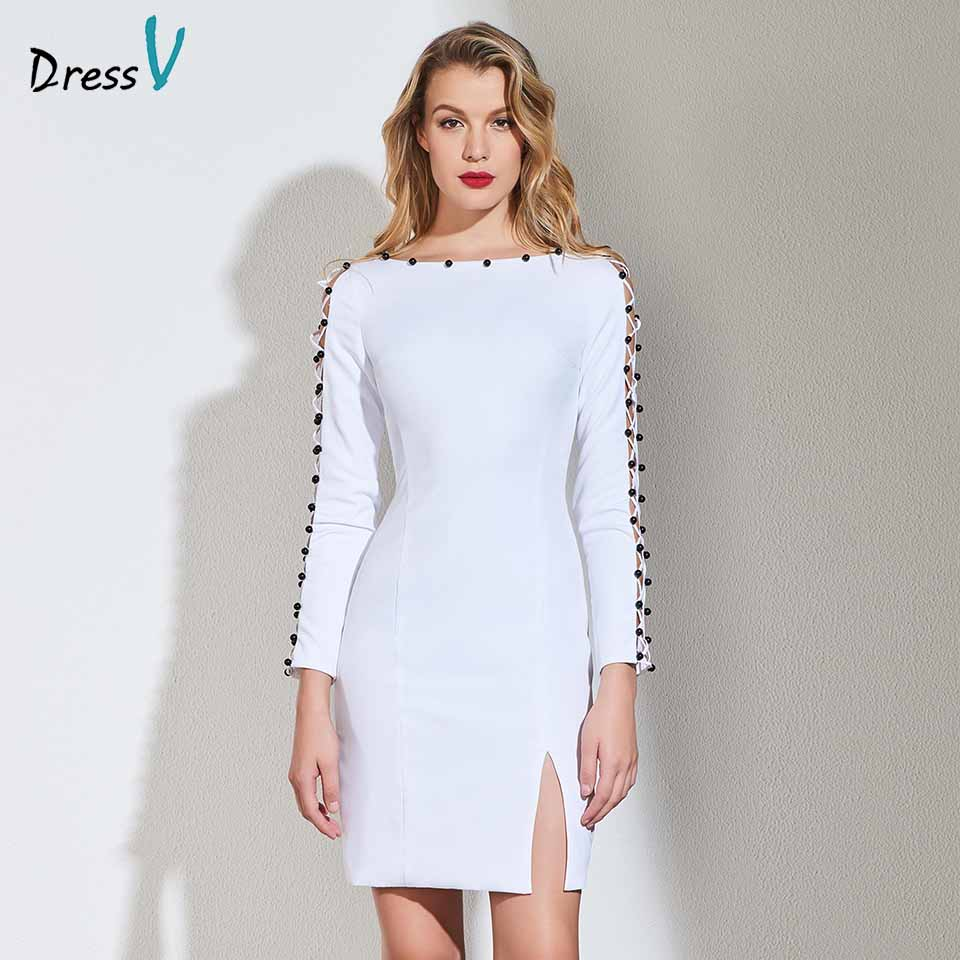 Dressv white beading   cocktail     dress   elegant long sleeves zipper up wedding party evening formal   dress   coctail   dresses   cutomade