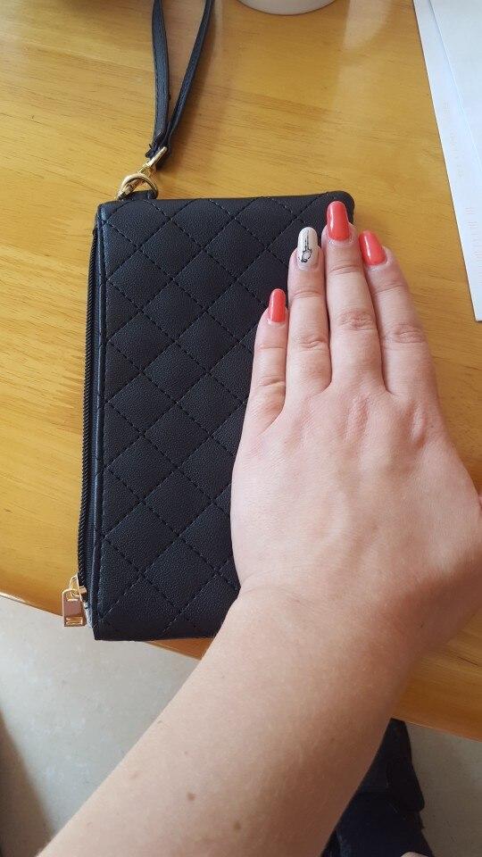 Women Wallets PU Leather Bag Diamond Lattice Female Zipper Clutch Coin Purse Ladies Wristlet Portable Black Handbag for Parties photo review