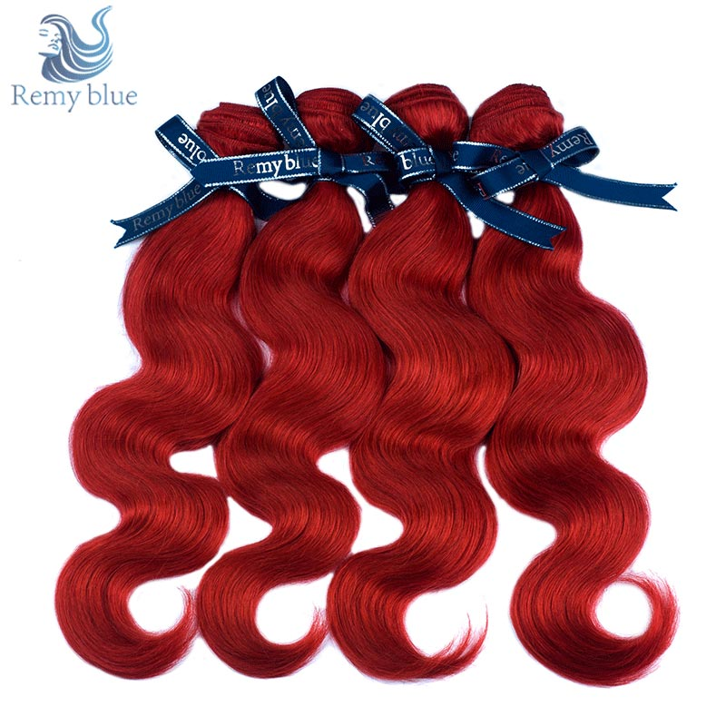 Remy Blue Red Raw Indian Hair Body Wave 4 Bundles Deals 1 Pack Burgundy Human Hair Weave Bundles Remy Hair Extension No Shedding