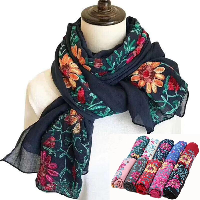 Wholesale 10pcs lot Women Cotton Linen Scarf Shawl Stole Wraps 180x90cm Large Long Pashmina Embroidery Flower