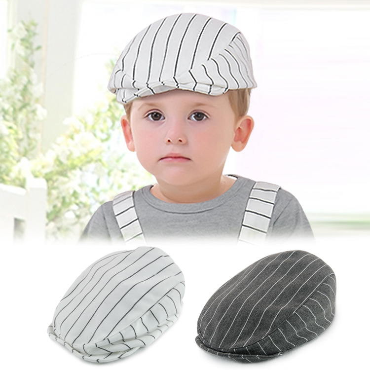 cf8fa167b6e 2017 Fashion Stylish Retro Kids Baby Boy Infant Toddler Beret Cap Peaked  Cotton Stripe Casquette Hat Casual