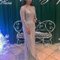 Luxury Beaded Evening Dresses Long Sleeves Scoop Mermaid Prom Dress 2019 Grey/Champagne Robe de Soiree SQ8
