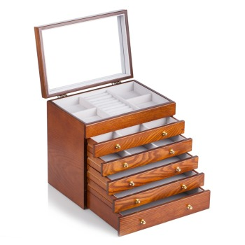 Brown Large Vintage Wooden Jewelry Boxes