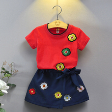 2-8Y Kids Summer Girls Child Casual Short Sleeve Tops T-shirt+Shorts 2pcs set