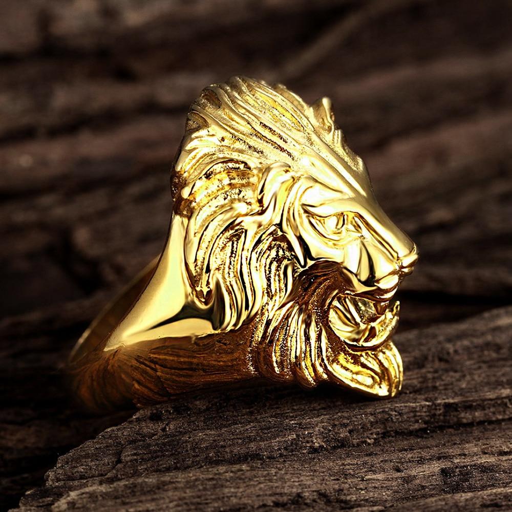 acheter pas cher Bague Lion argenté ou doré | Rasta Lion
