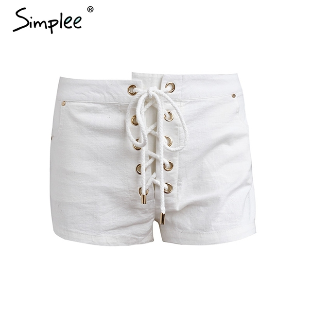 Simplee Vintage white lace up white shorts Women chic pocket summer shorts 2017 Casual streetwear shorts bottom