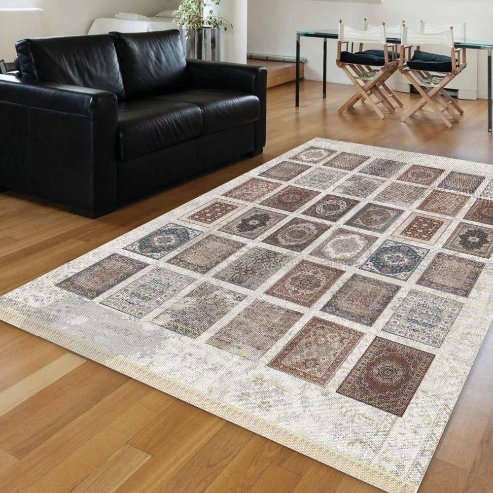 Else White Authentic Mixed Carpet Turkish Ethnic Vintage 3d Print Anti Slip Kilim Washable Decorative Area Rug Bohemian Carpet