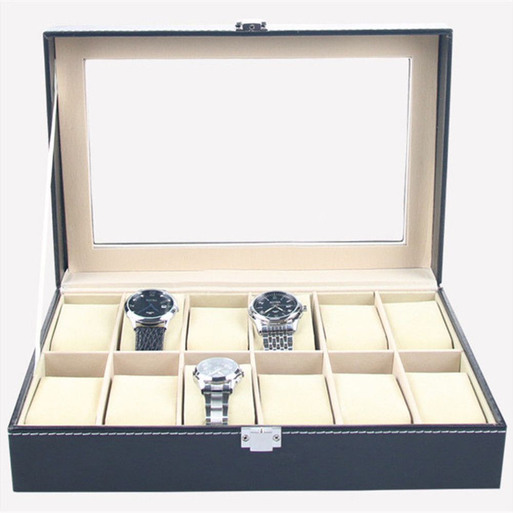 Faux Leather Watch Box Display Case Organizer 12 Slots Jewelry Storage Box