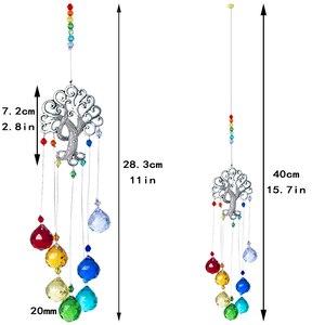 Image 5 - H & D 크리스탈 Suncatcher 차크라 색상 공 프리즘 트리 생명의 창 매달려 펜던트 레인보우 태양 포수 크리스마스 홈 장식