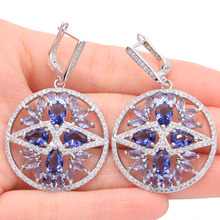 2018 New Arrival New Stone Iolite White CZ Woman's Wedding Silver Earrings 47x30mm