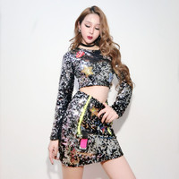 Sexy Jazz Dance Stage PailClothes For Female Singers Clothing 2 Set Club Pole Outfit Performance clothes Dj Dance Clothes DWY297