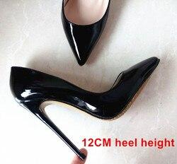 브랜드 신발 여성 하이힐 펌프 빨간색 하이힐 12 센치메터 여성 신발 하이힐 웨딩 신발 펌프 블랙 누드 신발 하이힐 B-0043