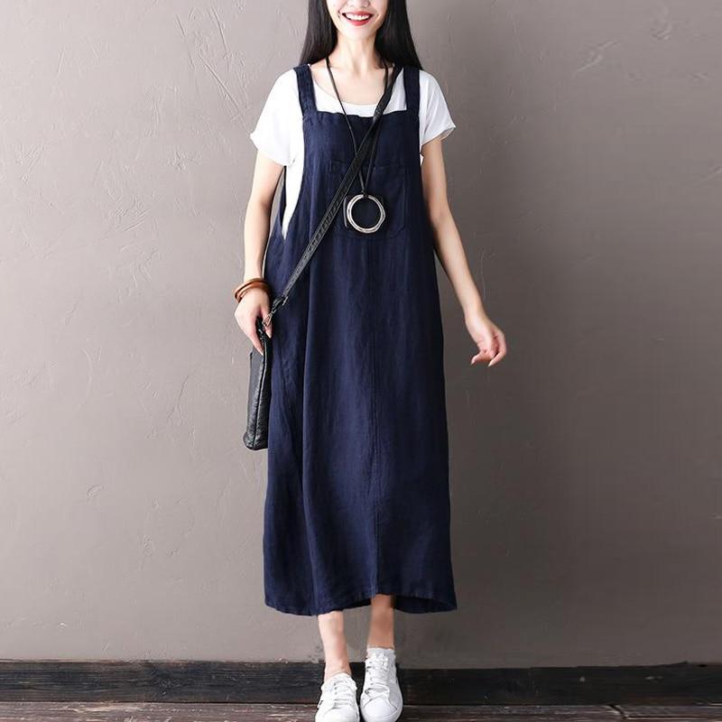 ZANZEA Women Retro Sleeveless Spaghetti Straps Casual Long Suspender Dress Summer Cotton Linen Loose Rompers Vestido Plus Size