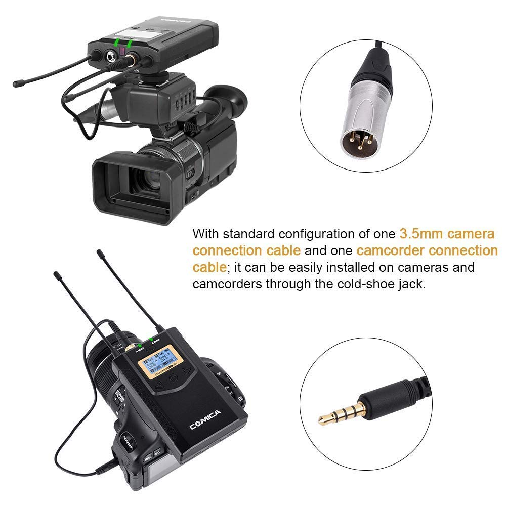 Wireless Camera Microphone Comica WM100 PLUS Dual Lavalier Lapel Mic System for Canon Nikon Fuji Cameras,Camcorder,Smartphone