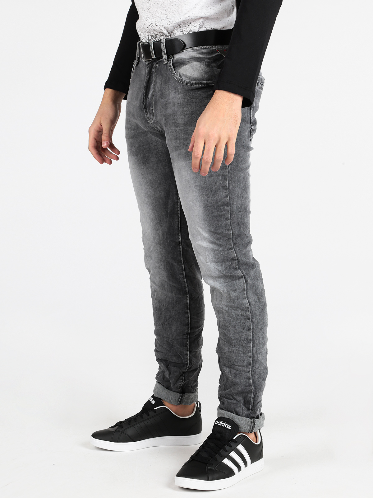 Gray Jeans Effect Washed Slim Fit