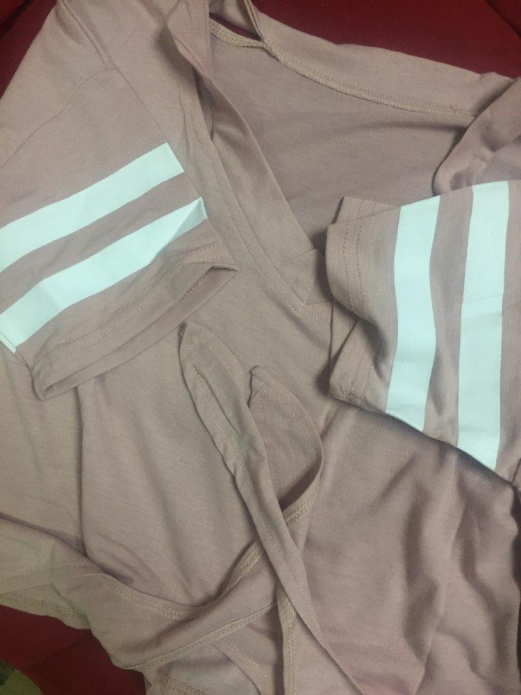SweatyRocks Cut Out Neck Varsity Striped Knot Front Tee Summer Short Sleeve V Neck Casual T-shirt Women Pink Crop Top
