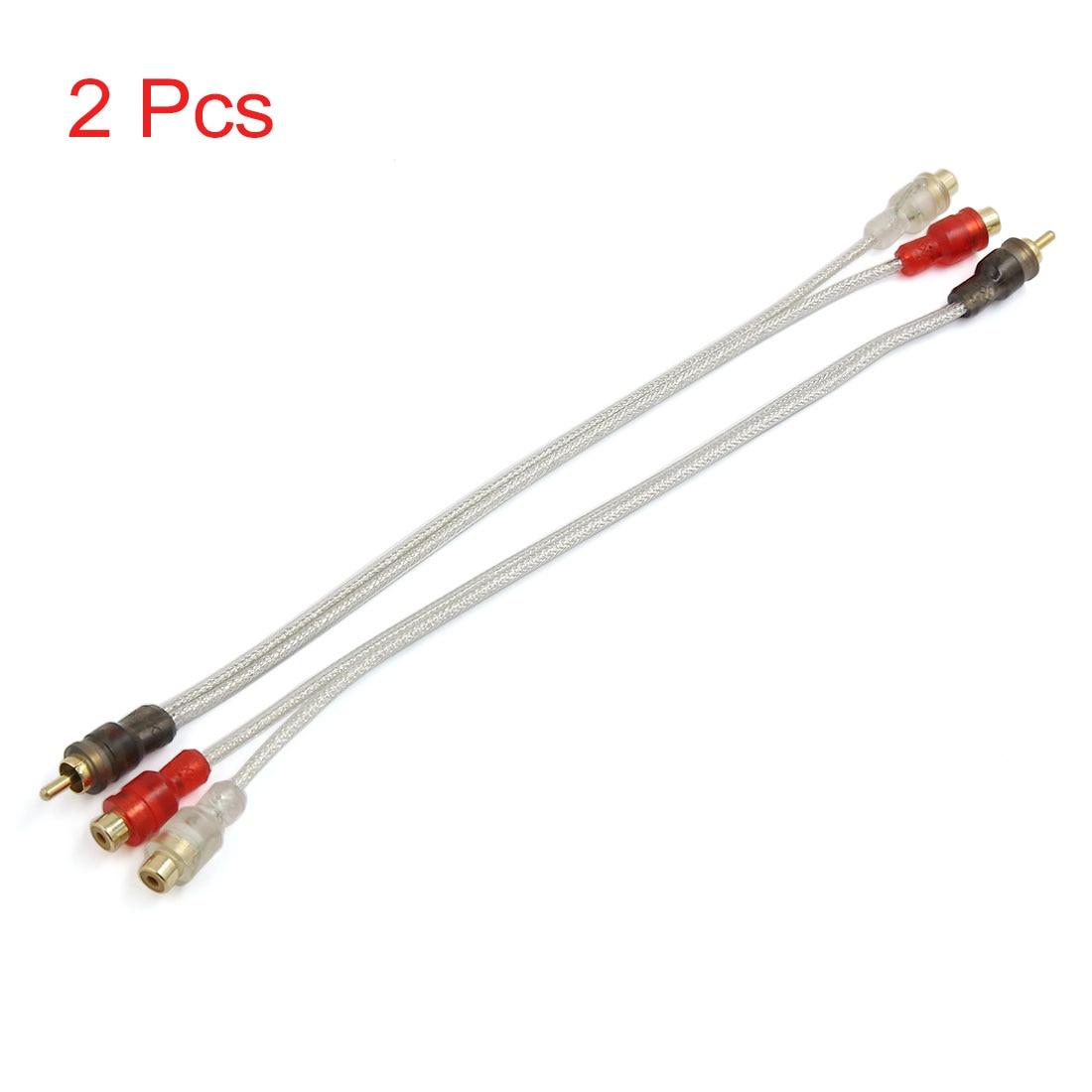 Uxcell 2pcs 31cm Car Amplifier Audio Y Splitter Cord Cable