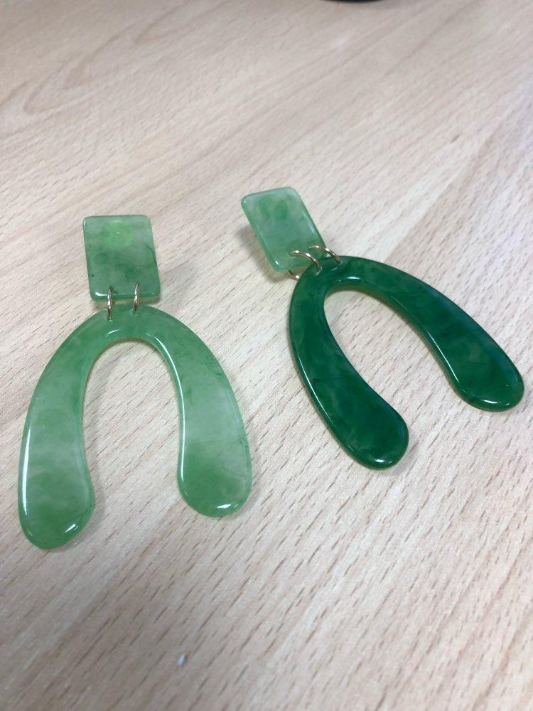 Green Acrylic Geometric Drop Earrings photo review